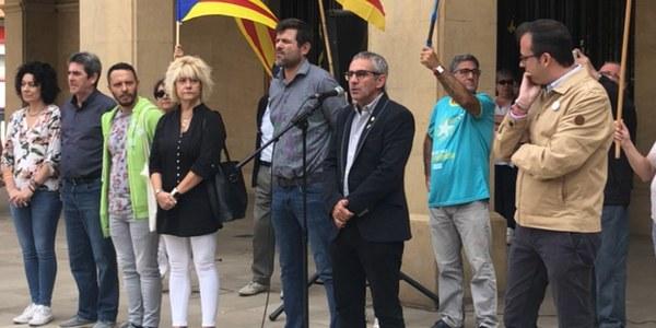 Imatge de la participació de Panadés a la concentració a Mollerussa quan s'ha conegut la sentència