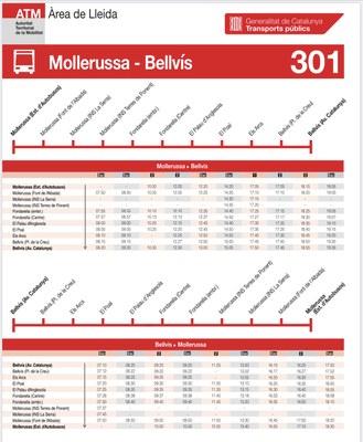Ruta de transport regular de viatgers Mollerussa-Bellvís. 301_Autocars Salvia