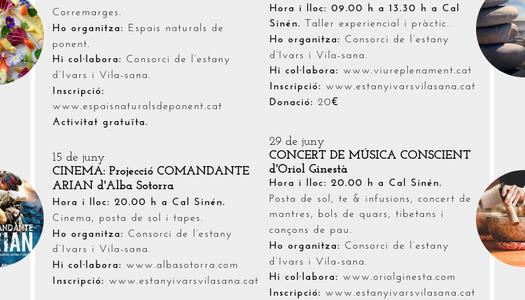 Programa d'activitats del mes de Juny a l´Estany d'Ivars i Vila-sana.